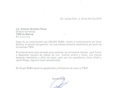 Testimonio, testimonial, TIEM, RUBA